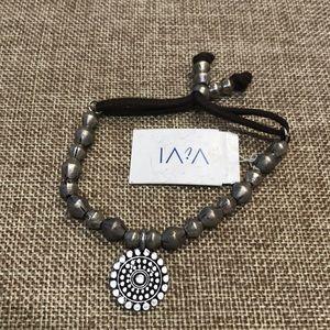 NWT! ViVI corded adjustable bracelet silver beads